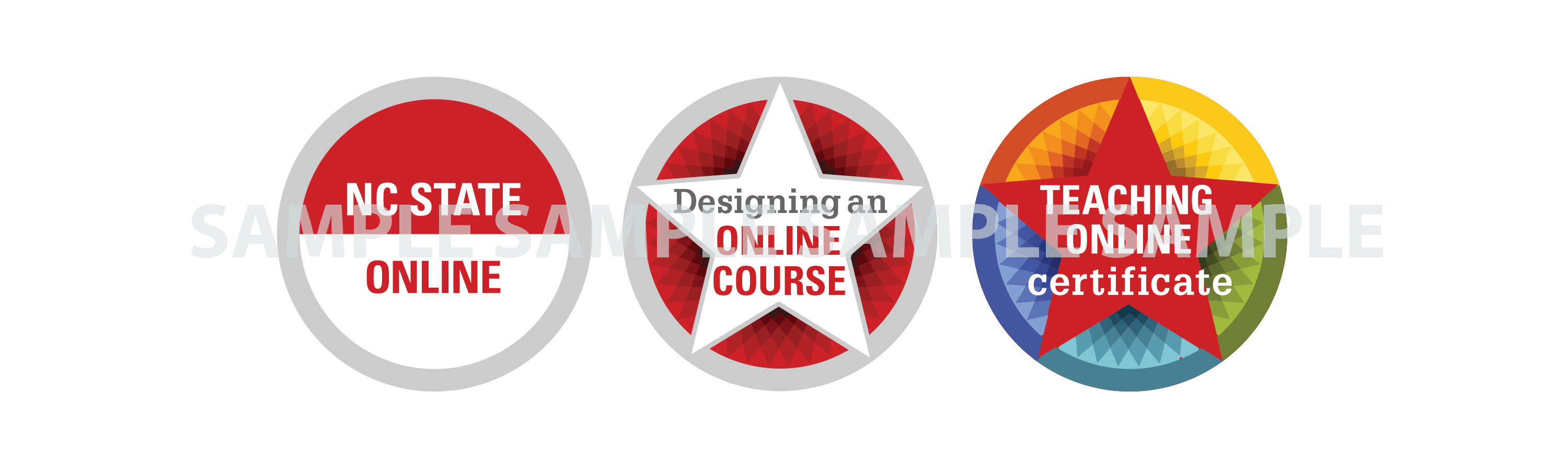 Examples of digital credentials for Teaching Online Pathway