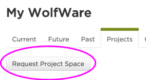 request project space button