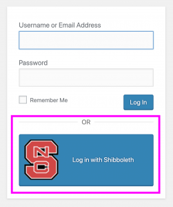 Log in with Shibboleth button
